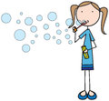 Bubbles illustration of a girl blowing soap Royalty Free Stock Photos