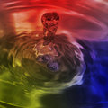 Bubbles Motion In Colored Water