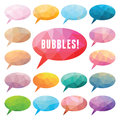 Bubbles polygonal vector set of elements for presentations comics blogs and other design promotional materials Royalty Free Stock Image