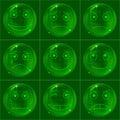 Bubbles smileys, green Royalty Free Stock Photo