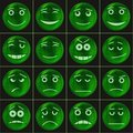 Bubbles smileys green set of various in soap eps contains transparencies Royalty Free Stock Image