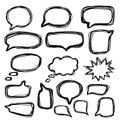 Bubbles speech doodle set. Hand drawn doodle style. Vector.
