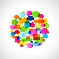 Bubbles speech no transparencies colorful Stock Photo