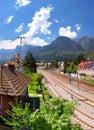 Bucegi mountain view and train station in busteni romania over mountains Royalty Free Stock Photos