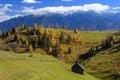 Bucegi mountains landscape scenic view of pestera village in romania Stock Images