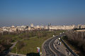Bucharest aerial view of a large boulevard near parliament house in romania Royalty Free Stock Images