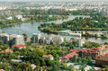 Bucharest Aerial View Of Park Herastrau Royalty Free Stock Photo