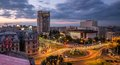 Bucharest Aerial View Sunset Royalty Free Stock Photo