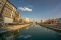 Bucharest, Dambovita river - March 27, 2014: a view over Dambovi Royalty Free Stock Photo