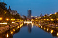 Bucharest on Dambovita river Royalty Free Stock Photo
