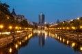 Bucharest on Dambovita river Royalty Free Stock Photo