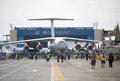 Bucharest international air show bias panorama people and planes at on june in romania in the background in front of the romaero Royalty Free Stock Photography