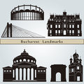 Bucharest landmarks and monuments isolated on blue background in editable vector file Stock Photos