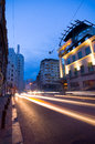 Bucharest by night calea victoriei rush hour on boulevard in central romania Royalty Free Stock Photography