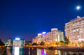 Bucharest by night - Dambovita River Stock Photo