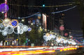 Bucharest night scene on magheru boulevard december Stock Images