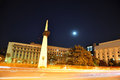 Bucharest night scene revolution square Stock Photography