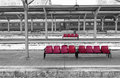 Bucharest North Railway Station & x28;landscape, panoramic, selective color isolation view& x29;
