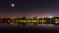 Bucharest park at night Royalty Free Stock Photo