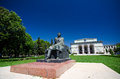 Bucharest romanian national opera house the with the statue of george enescu on a beautiful summer day Stock Images