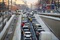 Bucharest street in winter, Romania.