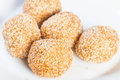 Buchi buchi sweet rice cake coated with sesame seeds and filled with sweet bean paste Stock Photography