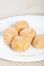 Buchi buchi sweet rice cake coated with sesame seeds and filled with sweet bean paste Royalty Free Stock Photography