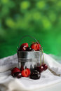 Bucket with berries on green background Royalty Free Stock Image