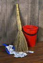Bucket, broom and dustpan