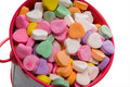 Bucket of Candy Valentine's Hearts - Close-up Royalty Free Stock Photography
