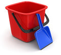 Bucket and dustpan clipping path included image with Royalty Free Stock Photos