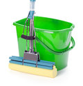 Bucket and mop on white background Stock Photo