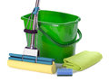 Bucket and mop on white background Royalty Free Stock Images