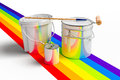 Bucket with paint, roller, and rainbows colors Stock Photos