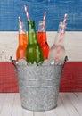 Bucket of Soda with Drinking Straws Royalty Free Stock Photo