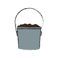 Bucket with soil