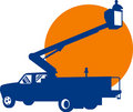 Bucket truck and lineman Royalty Free Stock Images