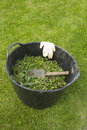 Bucket of weeds large with trowel and latex gloves Stock Photo