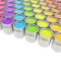 Buckets full of paint over white background Stock Image