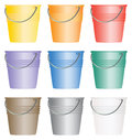 Buckets and or pails set of nine colorful Royalty Free Stock Photography