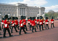 Buckingham palace changing of the guard ceremony london guards regiment musicians taking part in Stock Photography