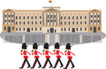 Buckingham Palace with guards Royalty Free Stock Photo