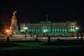 Buckingham Palace in London at night Royalty Free Stock Photo