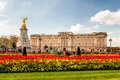 Buckingham Palace and Victoria Memorial at spring time. Royalty Free Stock Photo