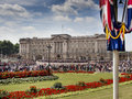 Buckingham place a very busy palace with many tourists outside Royalty Free Stock Photo