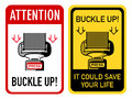 Buckle up signs two with safety belt Stock Photos