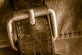 Buckle a vintage bag metal Royalty Free Stock Photography