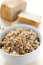 Buckwheat with bread Stock Photo