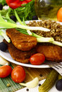 Buckwheat and chicken cutlet with vegetables Stock Image