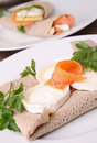 Buckwheat crepe with cheese and salmon Royalty Free Stock Photos